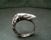 Borzoi / Greyhound sterling silver ring with diamond eyes