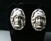 Sterling Silver very finely detailed Art Nouveau earrings
