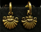 14K Gold shell drop earrings with diamonds