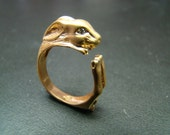 Beautiful and Unique 14K Gold Rabbit ring with diamond eyes