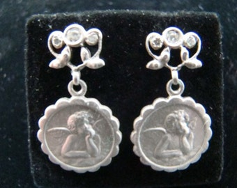 Sterling Silver cherub earrings with diamonds
