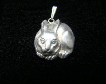 Sterling Silver Rabbit pendant with diamond eyes