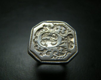 Sterling Silver Large octagonal crest ring