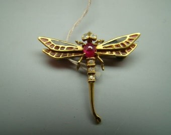 14K gold enamel dragonfly pin and pendant with enamel diamonds and rubies