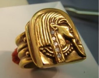 14K Gold amazingly detailed Egyptian ring with deco shank and diamonds