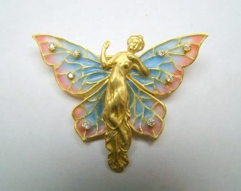 18K Gold equisite enamel wingled lady pin