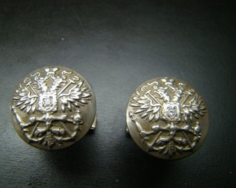 Sterling Silver Double Eagle Cuff Links with diamonds