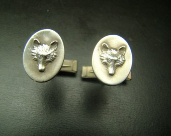 Fox sterling silver cufflinks with diamonds