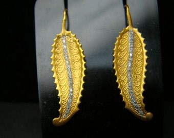 14K Gold finely detailed leaf drop earrings with diamonds