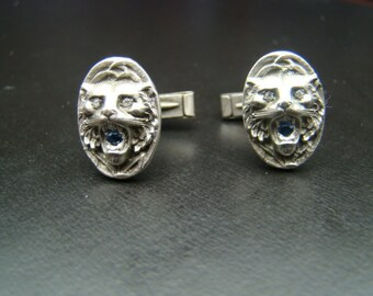 Sterling Silver Tiger cufflinks with genuine diamonds and sapphires