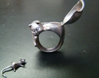 Cat Poison ring Sterling Silver and diamond eyes  with mouse.