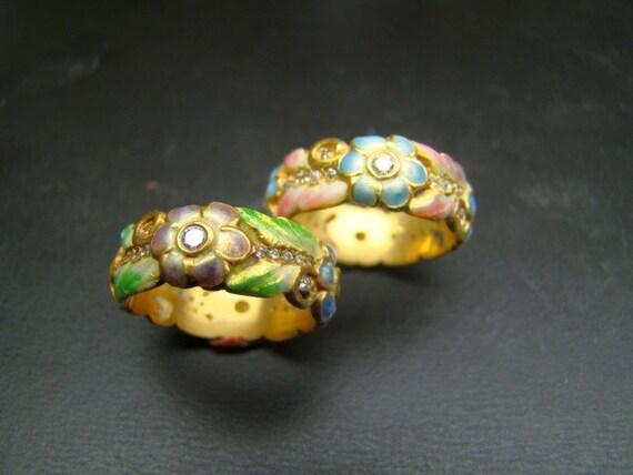 18K Gold enameled flower bands
