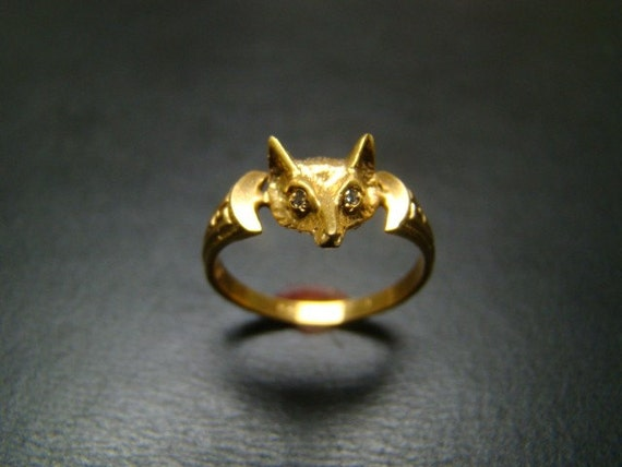 14K gold Fox ring with diamond eyes