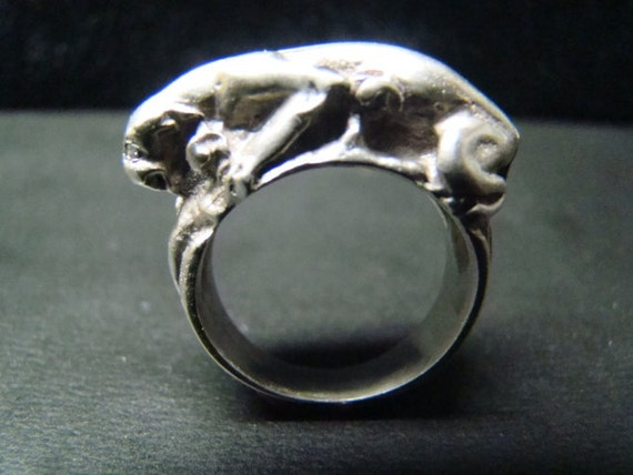Sterling Silver Panther ring with diamond eyes