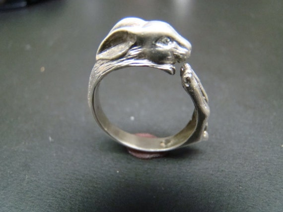 Adorable Sterling Silver Rabbit ring with diamond eyes