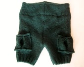 "Wool Shorties Upcycled Diaper Cover ""Forest Cargo"" (3-6M) - SALE"