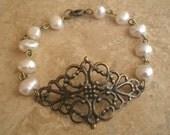 Antique brass diamond filigree bracelet