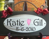 Custom  Name Plaque on Handpainted Wood with Decorative Scroll / Wedding / Anniversary