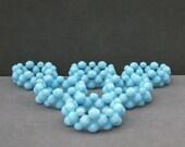 Housewarming Wedding Entertaining gift Opaque Turquoise Blue Crystal Stretch Napkin Rings (set of 6)