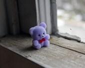 set of 5 purple flocked bears