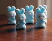 Set of 5 flocked blue bunnies