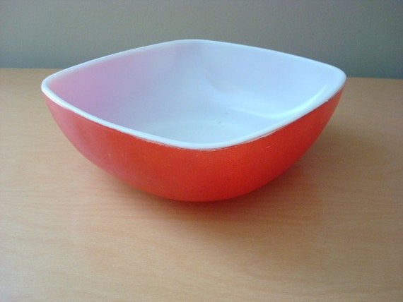 Vintage 1950's Red Pyrex Square Bowl