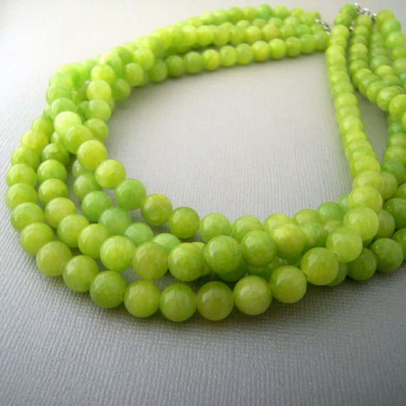Lime Green Statement Necklace, Green Beaded Necklace, Chunky Bead Multi Layer Necklace, Big Bold Jewelry, Unique Gifts for Women