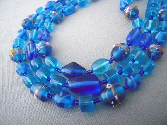 chunky blue necklace, multi strand necklace, glass bead statement jewelry
