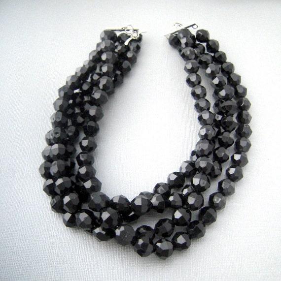 black statement necklace chunky black necklace by