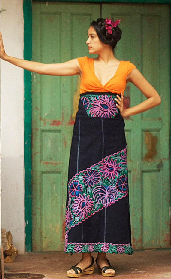 RESERVED for LA MONITA  Ooak Upcycled Mexican Embroidered High Waisted Unique Flower Paradise Extra Long Skirt Original Design by Ephemere
