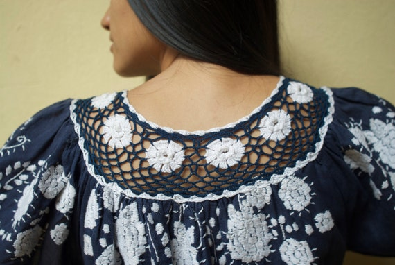 1970s Vintage Hand Embroidered Paraguayan Navy Blue and White Crochet Bohemian Ethnic Blouse