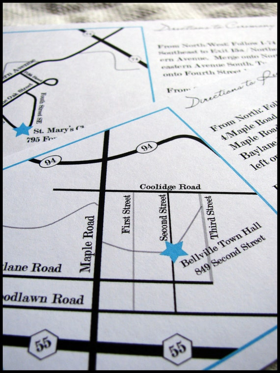 Custom Map Directions And Accommodations Card For Wedding