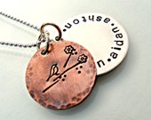 Personalized Necklace Handstamped - Name Jewelry - Gift for Mom Mommy Mama Grandma Nana - Mama Bird - Sterling Silver Copper Rustic Boho