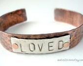 Personalized Hand Stamped - Cuff Bracelet - Copper  Sterling Silver - Unisex - Rustic Finish - Loved - Word of the Year