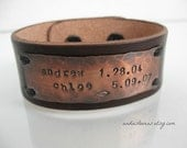 Fathers Day Gift for Men Personalized Hand Stamped Father's Day Gift Graduation Leather and Rustic Copper Unisex Cuff Bracelet