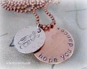 Mixed Metal Sterling Silver and Copper Hand Stamped Ballet Dancer Necklace on Copper Chain - Dance Recital Gift