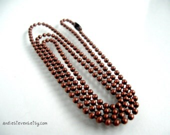 Copper Bead Ball Chain 24 inches 2.4mm