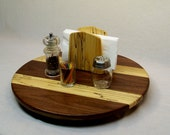 Wooden Lazy Susan, Walnut and Spalt Maple, 18 inch