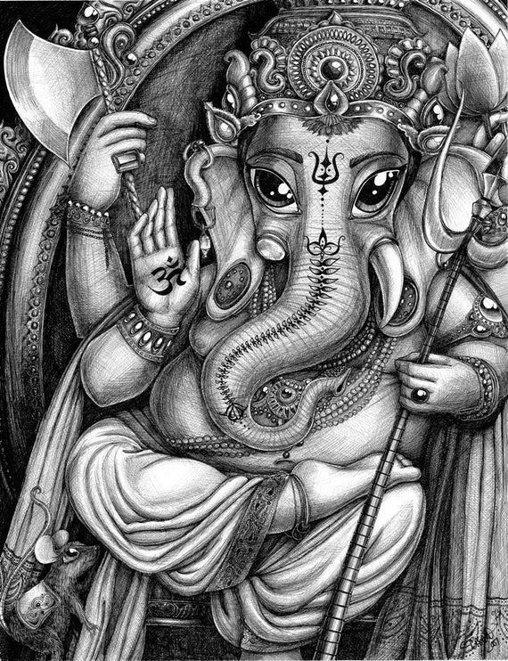 Ganesha (print), Hindu Deity, 11 x 14 inches, pen and ink