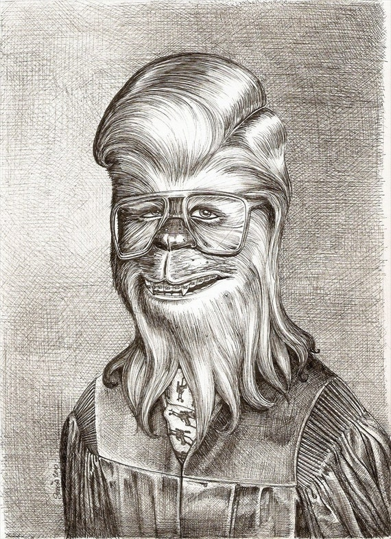 Chewbacca Graduates - 8 x 10 PRINT Pen and Ink Drawing