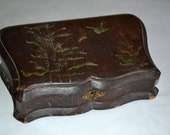 Antique leather embossed Jewelry Box RESERVED FOR GRACIE