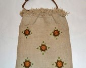 Vintage embroidered bag with drawstrings