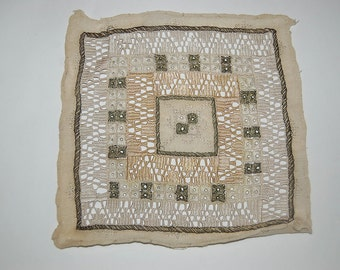 Antique Italian cutwork Lace Fabric square with metallic threads WAS 28.00