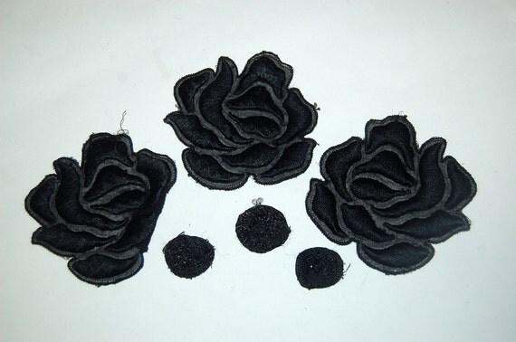 Set of 3 antique silk embroidered applique trim