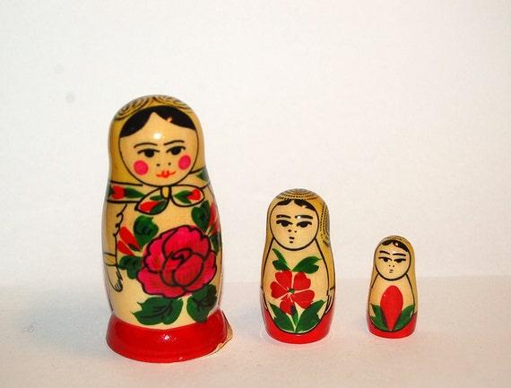 Vintage wooden stackable Russian Dolls