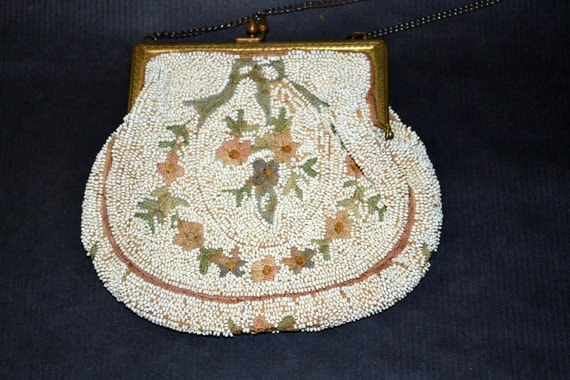 Antique Beaded purse with Crewel embroidery