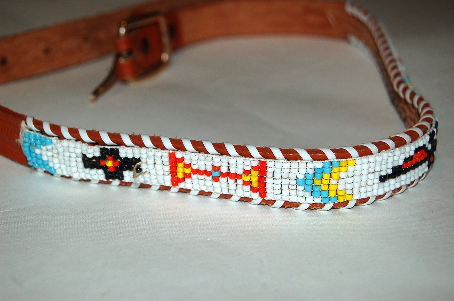 vintage childs beaded american indian leather belt