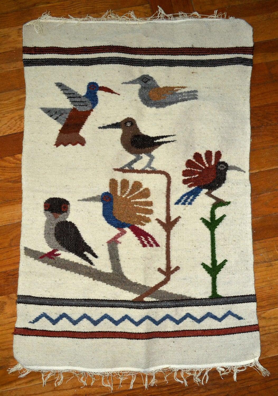Vintage Hand Woven Wool Southwestern Birds Rug Tapestry