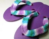 Girls Flip Flops Purple Blue Youth Size 13-2