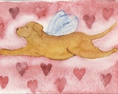 Yellow Lab Angel Valentine Card, ORIGINAL based on watercolor painting,